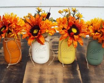 Fall centerpiece,mason jar decor,mason jars, Mason jar centerpiece,farmhouse centerpiece, rustic decor, painted Mason jars