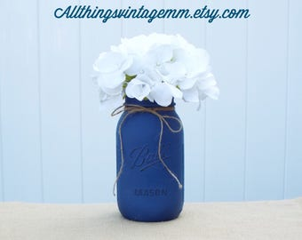 blue painted mason jar,Mason jar centerpiece,Mason jar decor,rustic table decor,farmhouse decor,Mason jar,wedding decor,housewarming
