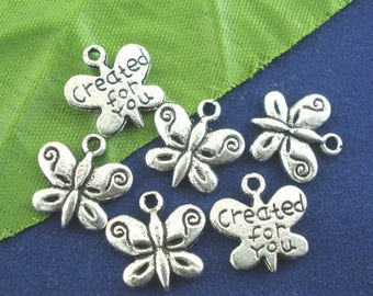 set of 10 charms/pendants 13 x 13 mm Butterfly charms