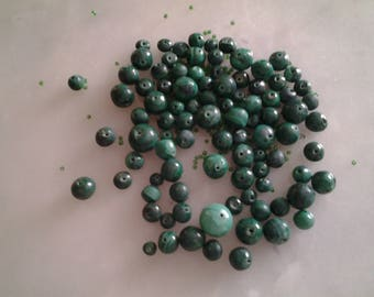 Malachite beads green different sizes