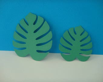 Set of 2 leaves green hibiscus for creation