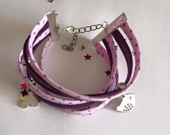 Jewelry Ribbon cuff Bracelets and charms purple pink tone