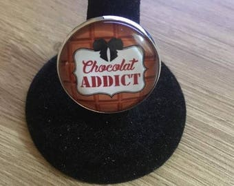 """adjustable """"chocolate addict"""" ring silver support"""