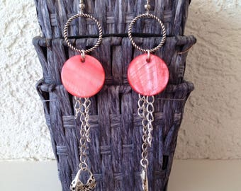 Earrings long boho summer Pink mother of Pearl and silver charms