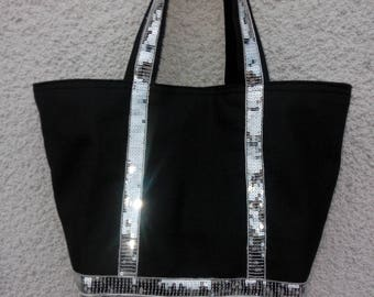 Silver sequins and glitter Black canvas tote bag size M
