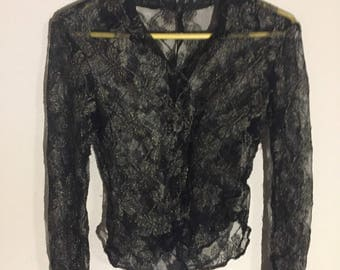 See through gold long sleeve button down size small