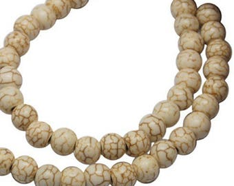 lot 50 beads natural howlite stone 6 mm new