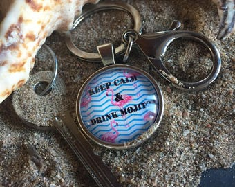 "message in a cabochon ""keep calm and drink mojito"" keychain"