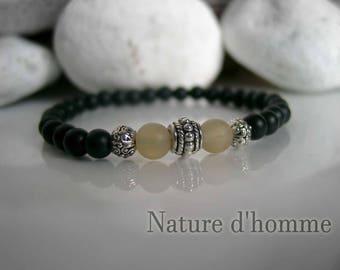 Bracelet matte black onyx gemstones and Horn of yak Ref: BN-122