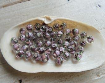 10 Lampwork beads 8 mm flower