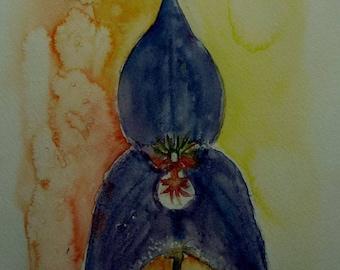 watercolor of a beautiful dark Orchid