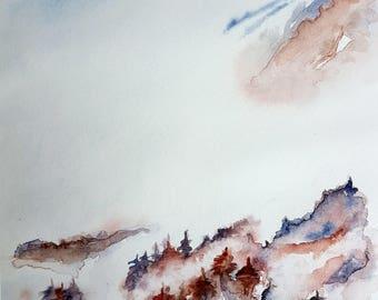 watercolor landscape snow
