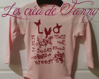 Bodysuit personalized with name and decoration
