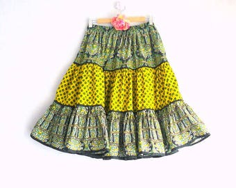 Provencal fabric skirt, 3 ruffles, one size, pattern Provence, France, Provence
