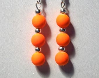 Dangle earrings neon orange acrylic bead