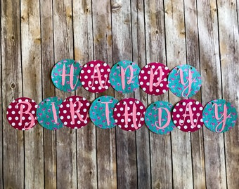 Happy Birthday Banner- Pink and Blue flamingos and polka dots