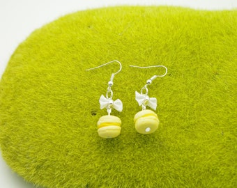 SOFT yellow macarons in polymer clay earrings