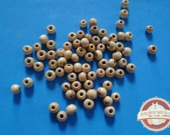 75 round 6mm beige wooden beads