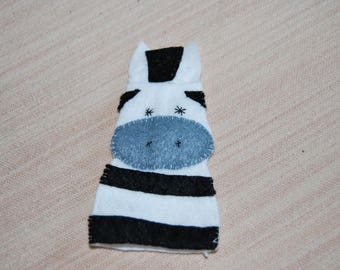 felt finger puppet animals Zebra