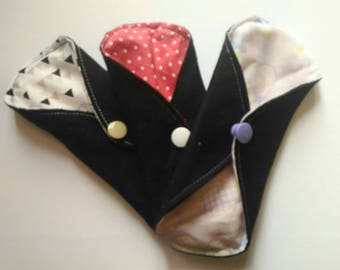 Set of 3 covers underwear washable fantasy (suede/bamboo/cotton)