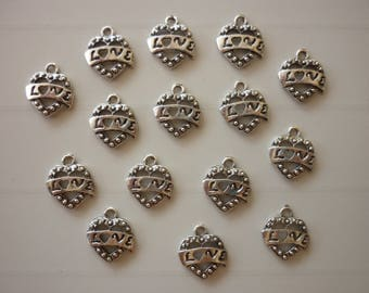 5 charms silver metal love small heart listing