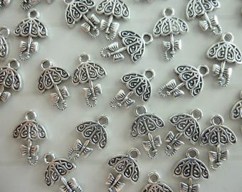 Set of 5 silver metal umbrella charms