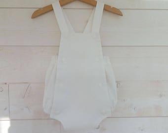 Romper retro baby pique cotton suspenders