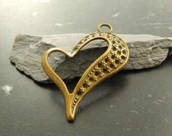 1 antique bronze heart charm pendant