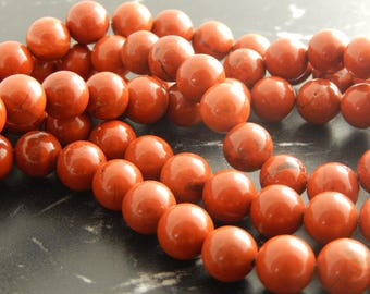 10 natural 8 mm red Jasper beads