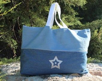 Beach bag * Silver Star two-tone denim canvas tote