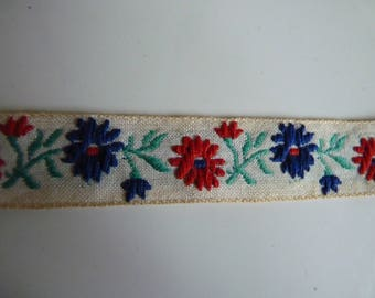 Red and blue floral stripe on white background