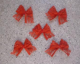 5 knots cotton appliques of Red lace