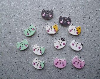12 Boutons  chats   1,6 cm, deux trous,  couture, crochet, tricot, customisation, scrapbooking, carterie