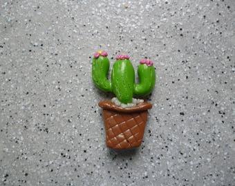 1  Cactus en fimo magnet pour  frigo  réalisé à la main sans moule