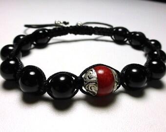 Bracelet shamballa bead Tibetan hand and onyx beads