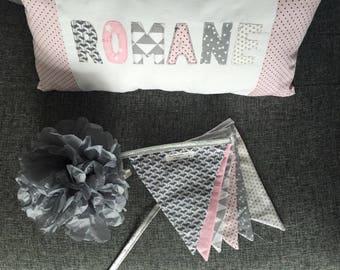 Matching Garland and customizable pillow set
