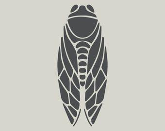 Cicada. Adhesive vinyl stencil. (ref 179)