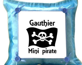 Blue Mini Pirate pillow personalized with name