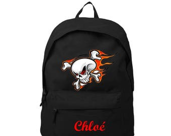 bag has black skull personalized with name