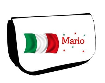 Black cosmetic case /crayons Italy customized with name