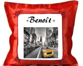 New york red pillow personalized with name