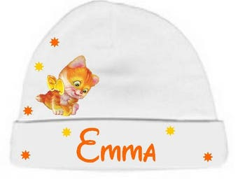 Personalized with name White Ginger kitten baby bonnet