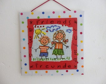 Textile painting and collage, drawing of children