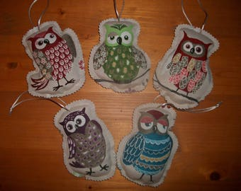 HAND MADE 5 OWLS DECO OWL FIGURINES