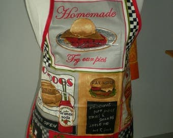 apron in laminated cotton 'hot dog' for older children