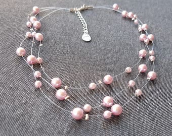 pink stone glass Pearl necklace on wire 3 rows
