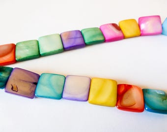 Mix 6 beads mother of Pearl square flat 12mm random colors (SFPN02)