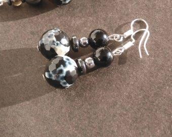Agate style dzi - black agate and hematite earrings