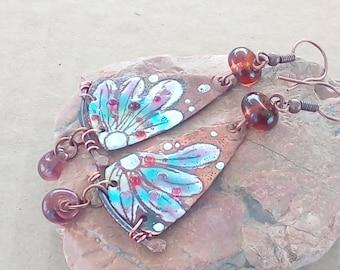 Earrings flower - copper enamel and Lampwork Glass