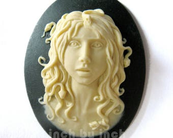 30 x 40 mm Mythology Woman Medusa Cameo, with snakes in her hair.